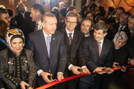 Turkish Prime Minister Erdogan participates with the Turkish Foreign Minister Davutoglu in opening ceremony of the new Turkish Embassy in Berlin. Theo Schneider/Demotix. All rights reserved.