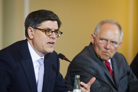 US Secretary of the Treasury, Jacob Lew and German Finance Minister Wolfgang Schauble attending a press conference in Berlin. Photograph: Theo Schneider/Demotix/Corbis