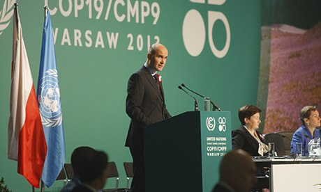 As Marcin Korolec, president of the COP during COP 19 in Warsaw gives a speech, our panel question the 'right' type of leadership for a climate change coalition. Photograph: Theo Schneider/Demotix/Corbis