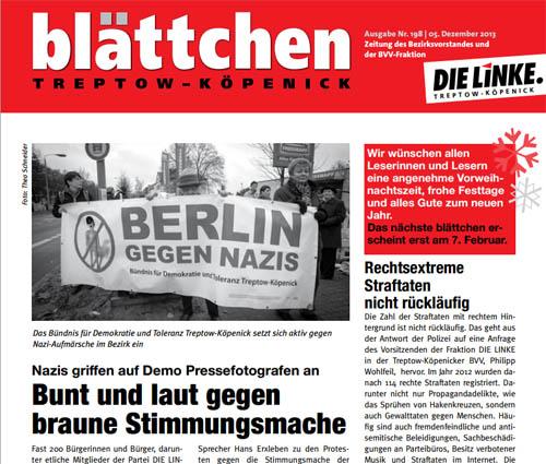Dezember-Ausgabe des Blättchens, Nr. 198 vom 05.12.2013 der Linken Treptow-Köpenick mit Foto von Theo Schneider auf der Titelseite