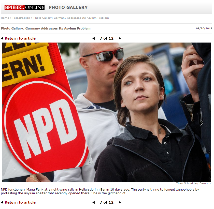 Theo Schneider/ Demotix<br /> NPD functionary Maria Fank at a right-wing rally in Hellersdorf in Berlin 10 days ago. The party is trying to foment xenophobia by protesting the asylum shelter that recently opened there. She is the girlfriend of ...