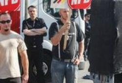 NPD-Aktion gegen Flüchtlinge in Berlin-Hellersdorf im vergangenen August; Photo: Th.S.