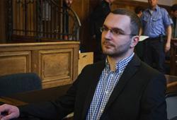 Sebastian Schmidtke, NPD-Landesvorsitzender in Berlin, steht seit Mittwoch vor Gericht; Photo: Th.S.